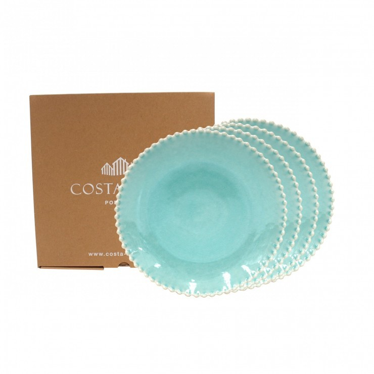 PEARL AQUA SET 4 DINNER PLATES