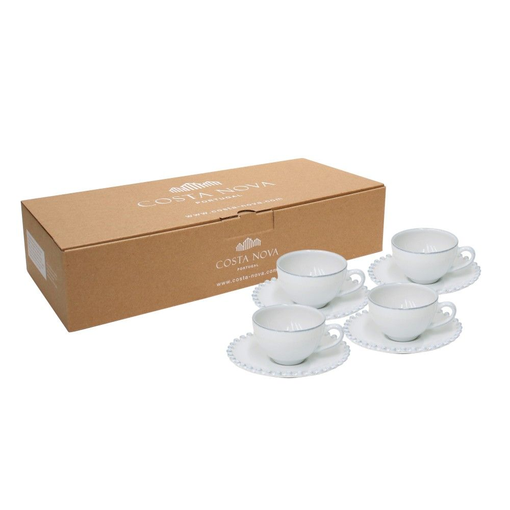 GIFT 4 COFFEE CUPS & SAUCERS PEARL