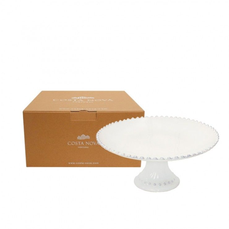 GIFT FOOTED PLATE MEDIUM PEARL