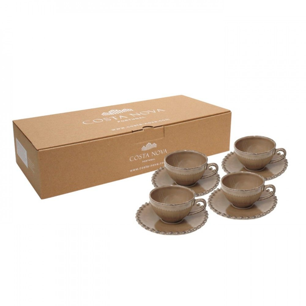 GIFT 4 COFFEE CUPS & SAUCERS PEARL COCOA