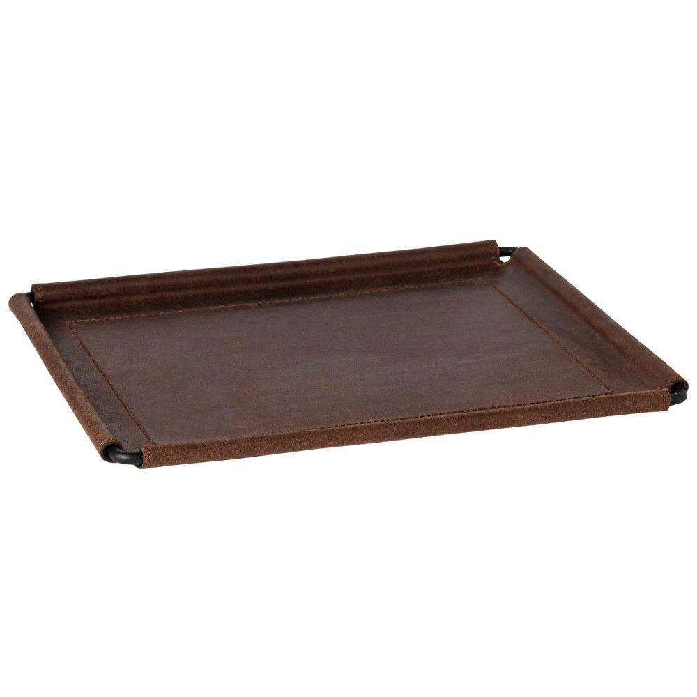 "LEATHER RECT. TRAY 12"" LEATHER COLLECTION"