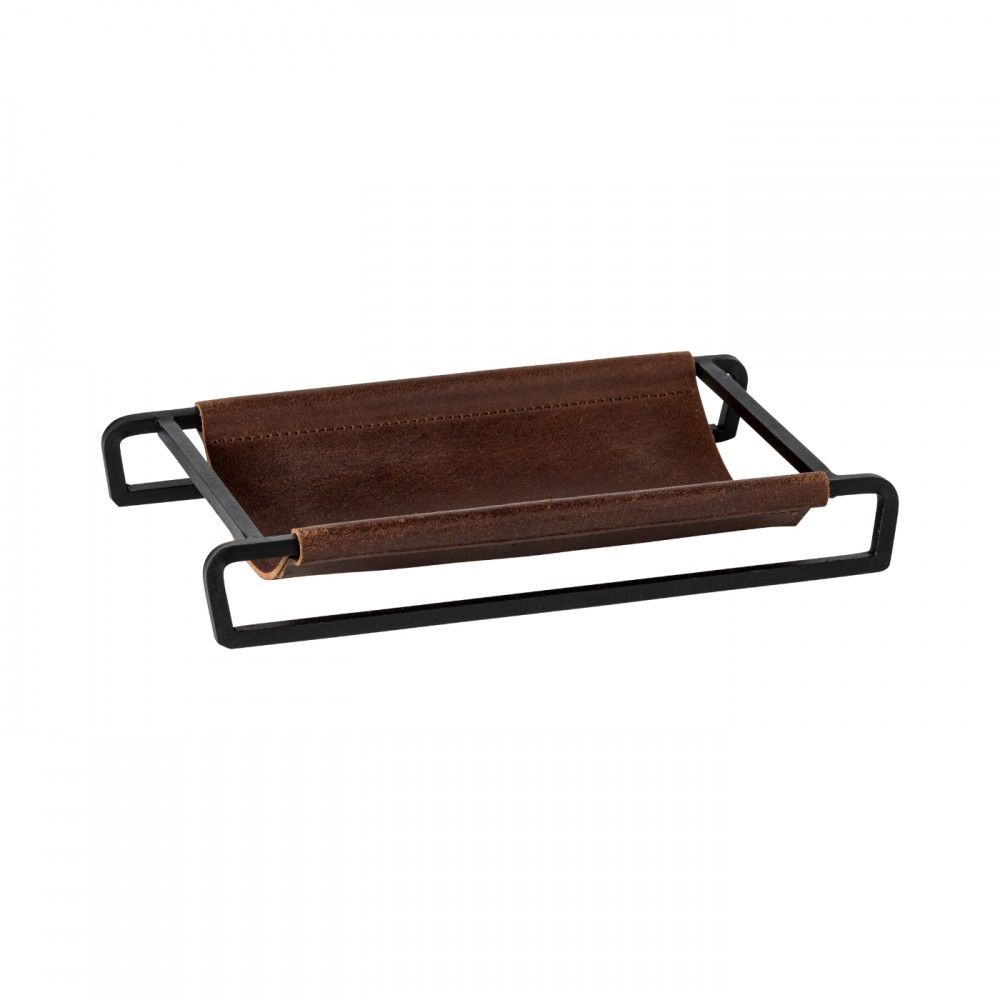 "LEATHER RECT. TRAY/BASKET 10"" LEATHER COLLECTION"