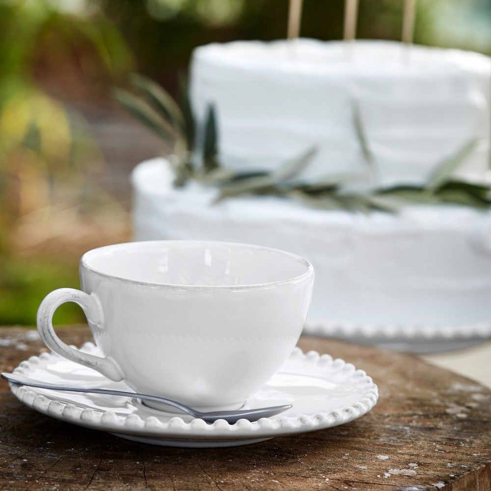 TEA CUP AND SAUCER 8 OZ. PEARL